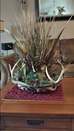 Deer antler centerpiece that I made for the coffee table.