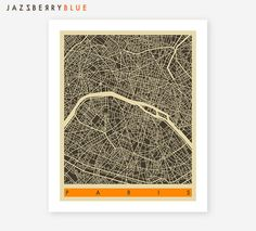 PARIS Map (series 3)  Modern wall art for the home decor by Artist Jazzberry Blue    Gallery quality Giclée print using a heavyweight, lightly