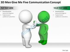 3D Men Give Me Five Communication Concept Ppt Graphics Icons Powerpoint #Powerpoint #Templates #Infographics