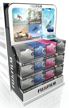 This is the Fuji Film End Cap which sits at the end of a Dick Smith gondola. You can play with the camera...very cool. Fuji Film, Retail Displays, Pos