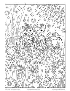 Cattails And Duck Creative Kittens Coloring Book By Marjorie Sarnat