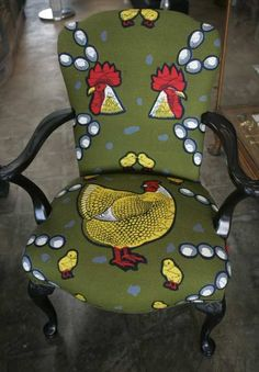 praisehouse:  Whimsical chicken pattern in African wax print