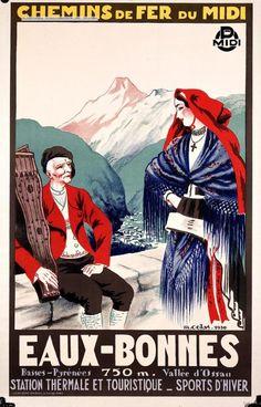 Chemins de fer du Midi. Eaux-Bonnes : station thermale et touristique, sports d'hiver - 1930 - France -