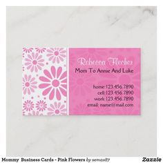 Mommy  Business Cards - Pink Flowers Call Me Maybe, Mom Cards, Unique Business Cards, Calling Cards, Standard Business Card Size, Pink Flowers, Create, Paper, Prints