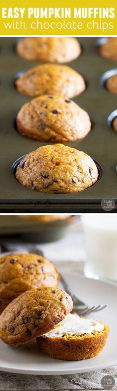 Looking for a simple, no-brainer pumpkin chocolate chip muffin recipe? These…: