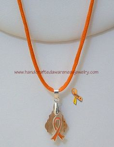 CRPS/RSD Orange Satin Tan Necklace item# OSTN  Price: $20.00