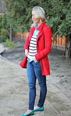 Red coat and chambray