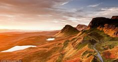 the remote Trotternish Ridge at dawn on the Isle of Skye in the Inner Hebrides of Scotland.