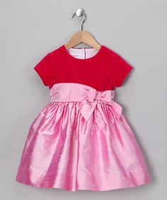 Fuchsia & Pink Bow Silk Dress - Toddler & Girls