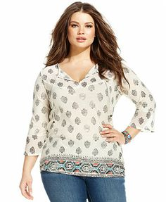 Lucky Brand Plus Size Three-Quarter-Sleeve Printed Peasant Top