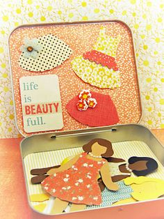 """Paper Dolls with tin & card  """"The fabric swatches from the collection (Vanilla Sunshine from SEI) cut like a dream with my Silhouette!"""
