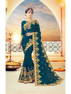 Mystical Deep Teal Blue Designer saree