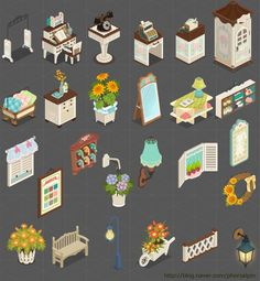 Mobile Interiors Isometric Art, Isometric Design, Gui Interface, Maya Modeling, Pixel Characters, Pixel Design, Game Props, House Illustration, Cute Games