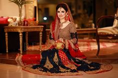 Pakistani Bridal Wear one of the very few colour combinations I like  red and royal blue