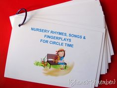 SONG CARDS. Download these and have easy access to numerous nursery rhymes, songs, fingerplays!
