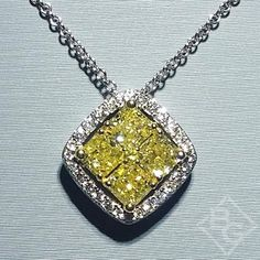 Natural Fancy Yellow Diamond Cluster Pendant Featuring White Round Cut Diamonds and 1.04 Carats Fancy Colored Princess Cut Yellow Diamonds from the Simon G. Duchess Collection available at BenGarelick.com $7150 https://www.bengarelick.com/products/simon-g-18k-white-gold-diamond-mosaic-pendant-featuring-0-54-carats-diamonds-1