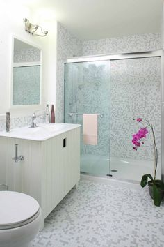 Shower - Trend mosaic tile throughout, by Granite Transformations
