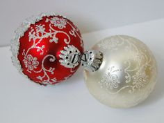 Red White Glittery Christmas Ornaments by QuirkyQuriosities, $9.00