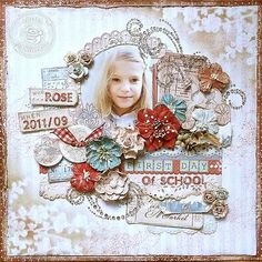 <3 this layout.   Distressed the layout with Ranger's Frayed Burlap Distress Ink, Crackle Paint, and Ranger Paint Dabbers