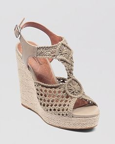 Lucky Brand Wedge Platform Sandals - Rilo Crochet Shoes - Sandalen - Bloomingdale's - picture for you Crochet Boot Socks, Crochet Sandals, Crochet Shoes, Crochet Slippers, Wedge Sandals, Wedge Shoes, Shoes Sandals, Spring Shoes, Summer Shoes
