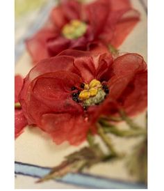 *RIBBON ART ~ How to make Corn Poppies with organza ribbon - tutorial - ribbon embroidery/stumpwork Ribbon Art, Fabric Ribbon, Ribbon Crafts, Flower Crafts, Organza Ribbon, Ribbon Flower, Handmade Flowers, Diy Flowers, Fabric Flowers