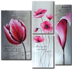 3 Pieces Hand Painted Oil Painting Pink Flowers-Modern Oil Painting On Canvas Art - Floral Oil Painting Wall Art Ready to Hang Modern Oil Painting, Oil Painting On Canvas, Canvas Artwork, Diy Painting, Art Painting Supplies, Modern Canvas Art, Flower Oil, Floral Wall Art, Pink Flowers