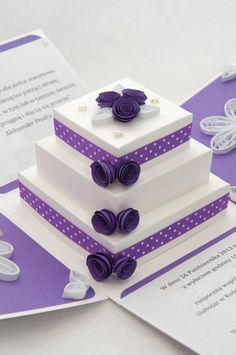 paper cake, tort z papieru, exploding box, quilling, handamde greeting cards Step Cards, Diy Cards, Fancy Fold Cards, Folded Cards, Wedding Anniversary Cards, Wedding Cards, Anniversary Ideas, Wedding Gifts, Boite Explosive