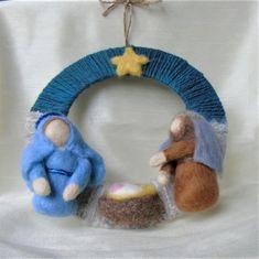 Christmas Nativity Wreath with Needle felt figures £25.00 Felt Wreath, Wire Wreath, Christmas Nativity, Wool Yarn, Needle Felting, Gift Guide, Christmas Decorations, Fancy, Wreaths