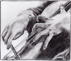 """""""Cello Hands"""" • HollyDunnCello {pencil drawing}"""