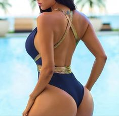 Womens Fashion Sexy High Cut Out Swimsuit Swimwear Backless Deep V One Piece Bathing Suit Fit Women, Sexy Women, Beautiful Buttocks, Cut Out Swimsuits, Hot Brunette, Monokini, Girl Pictures, One Piece Swimsuit, Bathing Suits