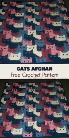 Cats Afghan Free Crochet Pattern - knitting is as easy as 3 The knitting . Cats Afghan Free Crochet Pattern - knitting is as easy as 3 Knitting comes down to three essential skills. Crochet Afghans, Crochet Blanket Patterns, Crochet Stitches, Knitting Patterns, Crochet Blankets, Free Knitting, Baby Blankets, Crochet Cushions, Crochet Granny