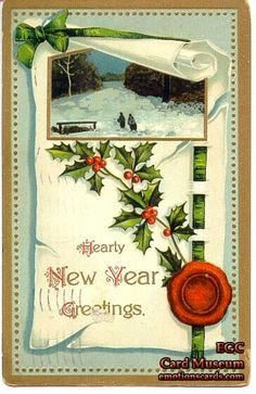 "Mfg. United Art Publishing Co., New York  Printed in Germany  Circa: Postmarked January 1, 1913  Embossed, Gold Foil Postcard reads: ""Hearty New Year Greetings.""."