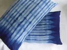 Hand-dyed cushion cover using natural indigo. Lumbar pillow 12 x 20
