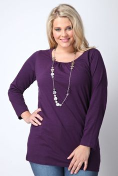 Purple Longsleeve Cotton T-Shirt With Ruched Neckline: Amazon.co.uk: Clothing