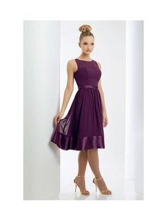 Jewel Natural Waist Pleated Tea Length Chiffon Purple Tea Length Bridesmaid Dresses
