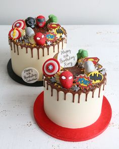 From spaceships to superheroes an Out of this World party needs a cake to match! Get in touch to discuss bespoke cakes & cupcakes with your favourite characters Birthday Drip Cake, Avengers Birthday Cakes, 6th Birthday Cakes, Superhero Birthday Cake, 4th Birthday, Pastel Marvel, Pastel Avengers, Marvel Cake, Batman Cakes