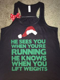 Christmas Tank - Ruffles with Love - Racerback Tank - Womens Fitness - #santa #christmasshirt #christmastank