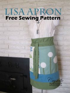 Cute cute apron sewing pattern FREE from CrystelleBoutique.com ~ Lisa Apron ~ from Apronology