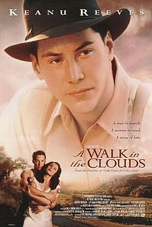 A Walk in the Clouds is a 1995 American-Mexican romantic drama film directed by Alfonso Arau and starring Keanu Reeves, Aitana Sánchez-Gijón, Giancarlo Giannini and Anthony Quinn. Cloud Movies, All Movies, Great Movies, Film Movie, See Movie, Keanu Reeves, Image Film, Bon Film, Movies Worth Watching