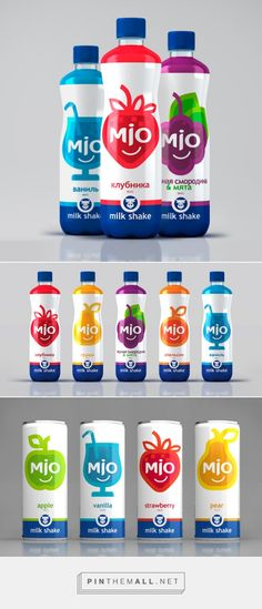 MIO Milk Shakes on Packaging of the World - Creative Package Design Gallery. - a grouped images picture Juice Packaging, Beverage Packaging, Bottle Packaging, Fruit Smoothies, Fruit Juice, Bottle Design, Packaging Design Inspiration, Food Design, Milkshake