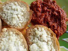 Two Crazy Cupcakes: Pecorino Romano Crostini with Sun-Dried Tomato Roasted Red Pepper Spread