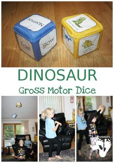 Dinosaur Gross Motor Dice Free Stomping Dinosaur Gross Motor Dice - 2 sets of dice for kids to get moving and learn their dinosaur names - The Kids Are Alright The Kids Are Alright can refer to: Dinosaur Theme Preschool, Dinosaur Games, Dinosaur Crafts, Preschool Games, Preschool Lessons, Dinosaur Birthday, Gross Motor Activities, Movement Activities, Toddler Activities