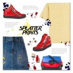 """""""Splatter Prints"""" by polly301 ❤ liked on Polyvore featuring Alice + Olivia, Versace, Giuseppe Zanotti, M.i.h Jeans, Joanna Laura Constantine, Shashi and paintiton"""