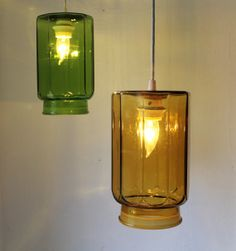 Emerald and Amber Glassware Kitchen Canisters Hanging by BootsNGus, $140.00