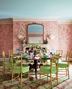 pink & green ~ Mario Buatta