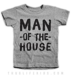 Man of the house. White Shirts are 100% Cotton. Heather Grey Shirts are 90% Cotton, 10% Polyester. All Shirts are printed in the USA.
