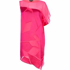 River Island Bright pink one shoulder burnout dress £40.00