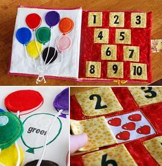 some great quiet book ideas with some learning theme along with the fun!!