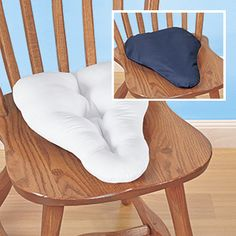 """SCIATICA RELIEF PILLOW  Product # HC4827 $29.98 CAD - Your best defense for chronic lower back pain.Sitting for long periods puts pressure on your sciatic nerve,which can lead to sharp,radiating pain in the spine,buttocks & legs.Bicycle seat-shaped cushion eases & prevents sciatica discomfort by taking weight off your thighs & backside helping you maintain proper seating posture. Made in USA of 100% poly fill padding with removable poly/cotton cover. Perfect for home, office or car. 14"""" L x 10""""W"""