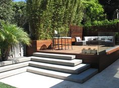 Modern garden design courtyard easy lawn grass cedar for Outdoor furniture yatala